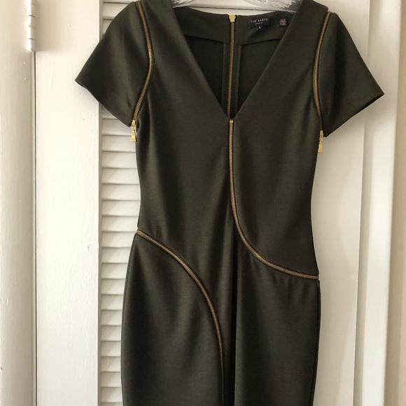 Ted Baker London Dresses & Skirts - Ted Baker olive green 4 gold zipper detail dress.